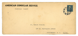 7 - Scott 175 on 1927 Stockholm-USA Consular Service mail