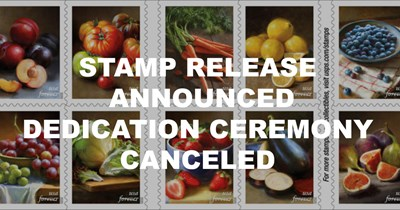 Sale of fruits and vegetables stamps set: Dedication ceremony canceled