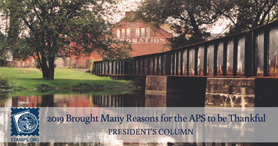 President's Column: 2019 Brought Many Reasons for the APS to be Thankful