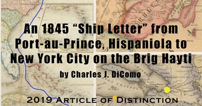 "An 1845 ""Ship Letter"" from Port-au-Prince, Hispaniola to New York City on the Brig Hayti"