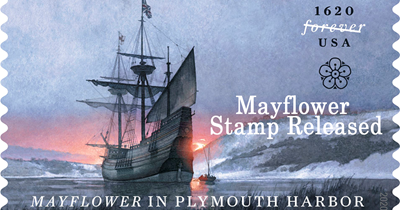 Mayflower in Plymouth Harbor stamp released