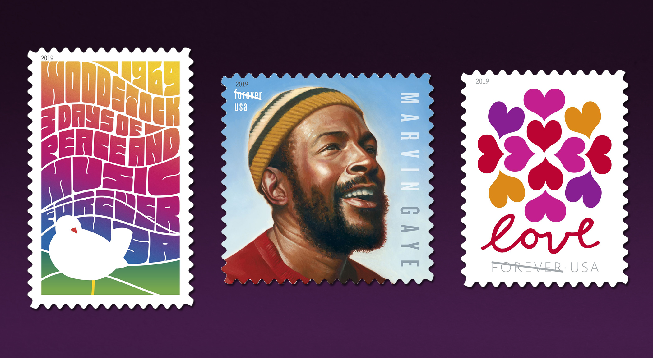 2019 US Stamp Program Announced Including Marvin Gaye, Woodstock