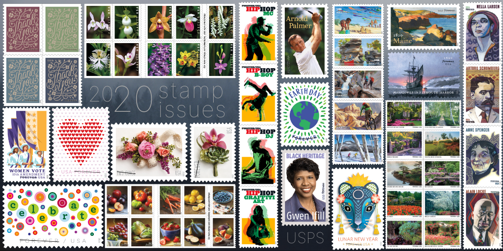 Earth Day, Corsages, and Hip Hop, Oh My! Here's a sneak peek of 2020's stamp issues