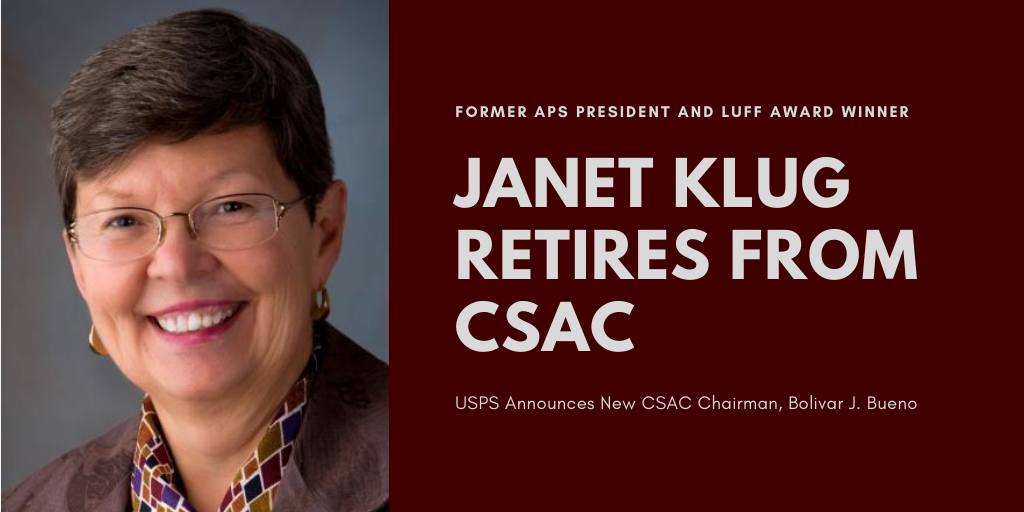 Former APS President Janet Klug Retires from Citizens' Stamp Advisory Committee