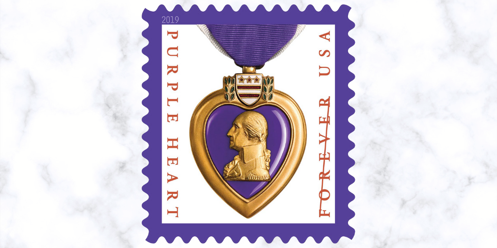 Purple Heart Medal stamps honor the bravery and sacrifice of military servicemen and women