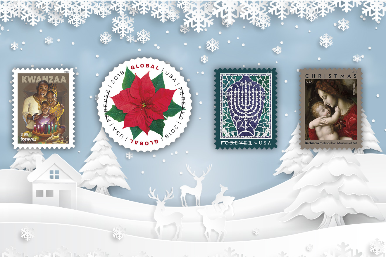 Festivals and Flowers Usher in Second Quartet of 2018 US Holiday Stamps