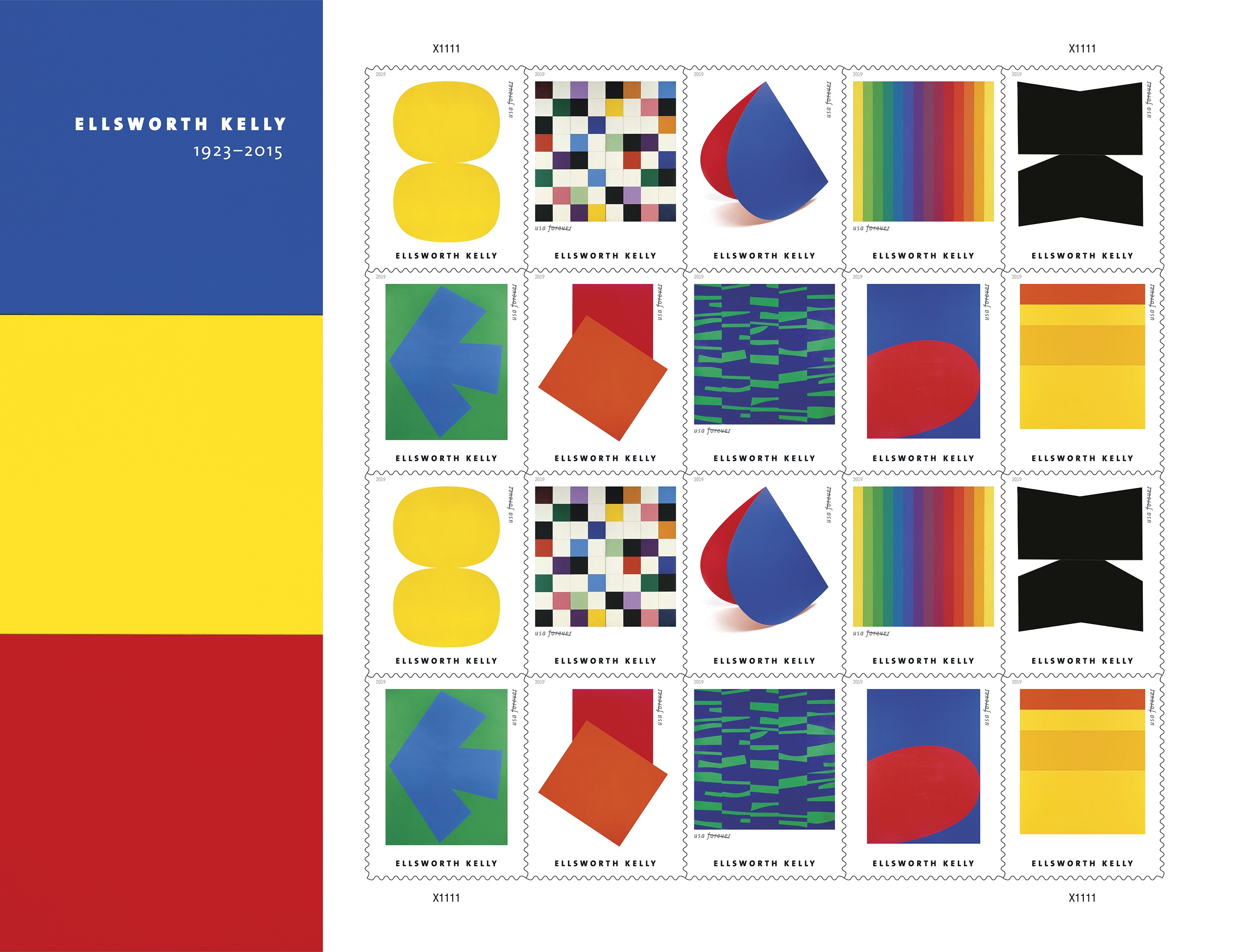 Abstract Artist Ellsworth Kelly Honored by Upcoming USPS Stamps