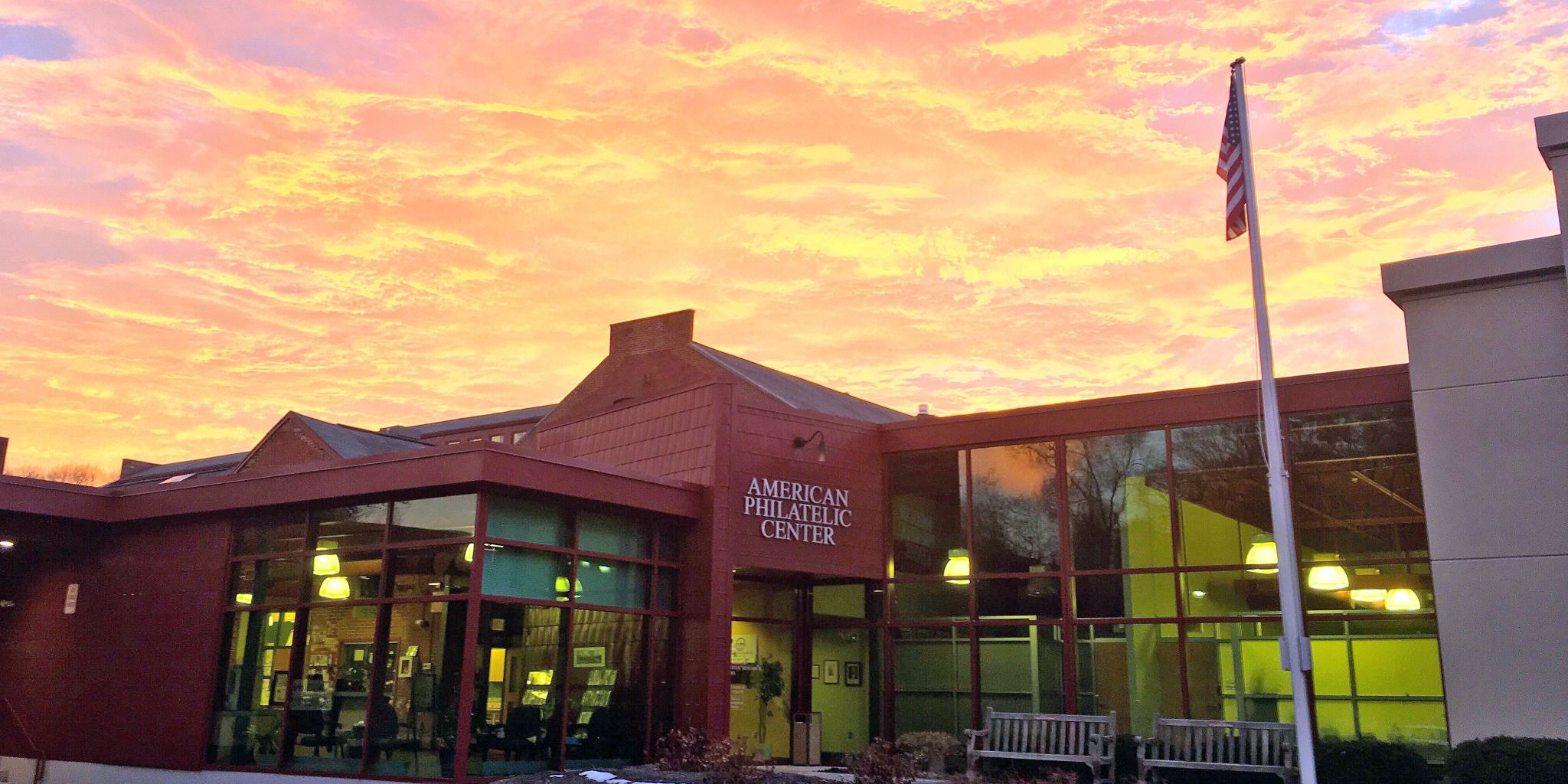 The American Philatelic Center at sunrise
